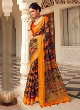 Wine And Orange Color Art Dola Silk Saree