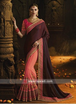 Wine and Peach Half n Half Saree