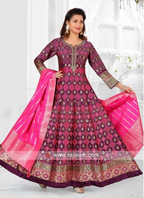 Wine And Rani Color Anarkali Suit with dupatta