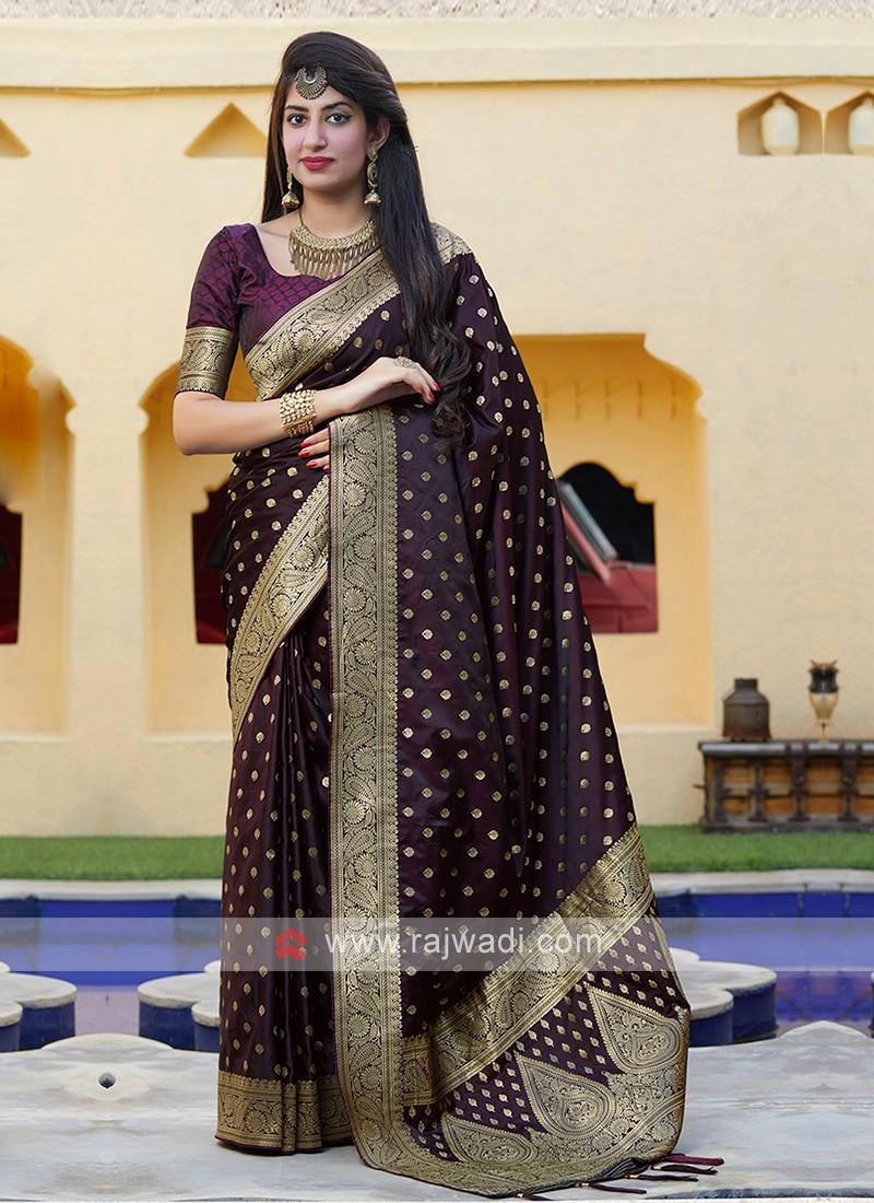 Wine Silk Saree