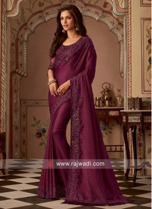 Wine Border Work Saree