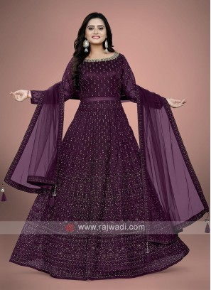 Wine color anarkali