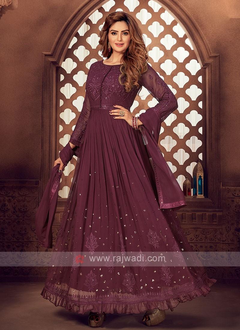 Wine Color Anarkali Suit