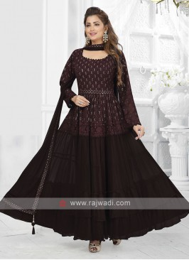 Wine Color Anarkali Suit with dupatta