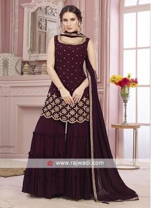 Wine color chiffon gharara suit