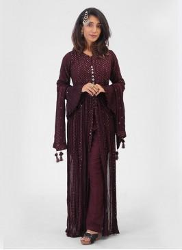 Wine Color Chiffon Long Front Slit Suit