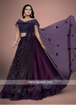 Wine color choli suit with dupatta