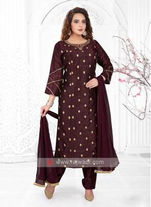 Wine Color Cotton Silk Trouser Suit