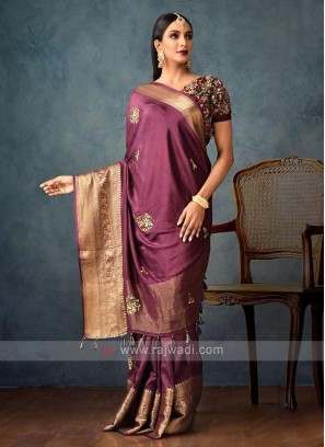 wine color dolla saree