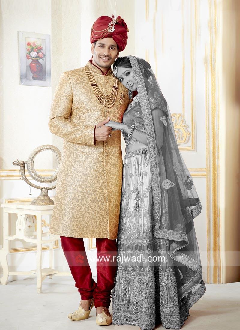 Brocade Silk Sherwani For Wedding