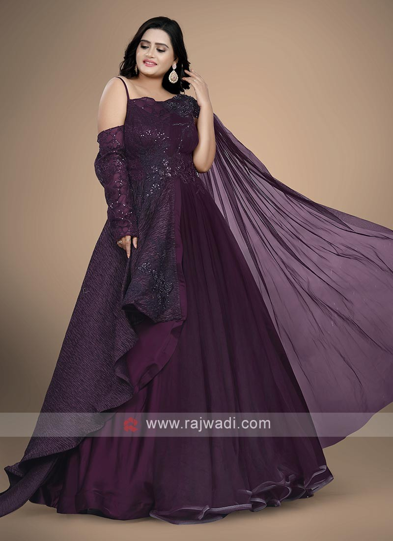 Wine color floor length gown