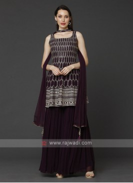 Wine Color Gharara Suit