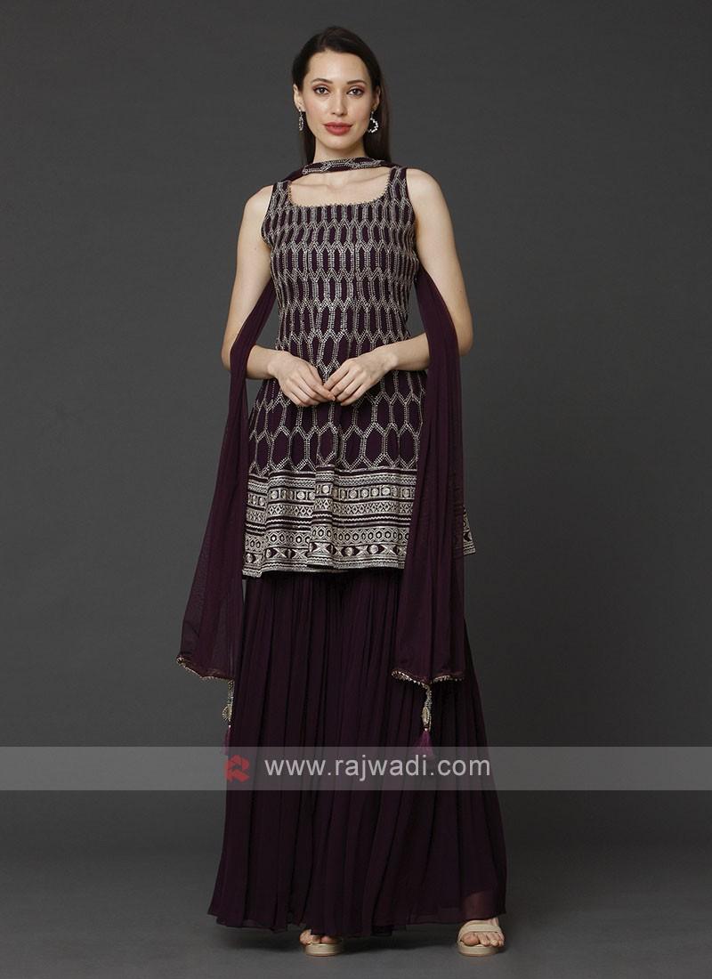 Wine Color Gharara Suit