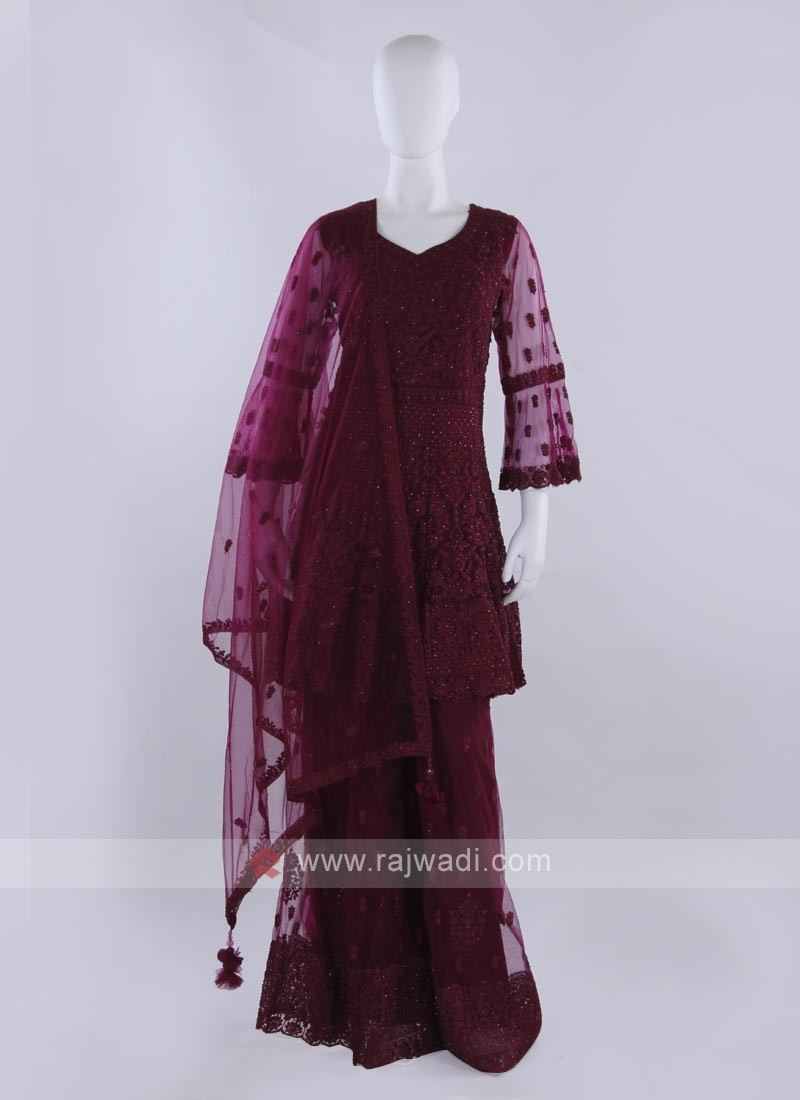 Wine color Gharara Suit with dupatta