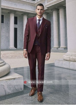 Wine Color Imported Fabric Suit