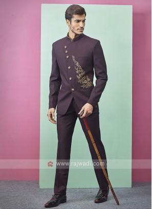 Wine Color Jodhpuri Suit