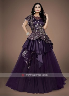 Wine color net and Linen fabric gown