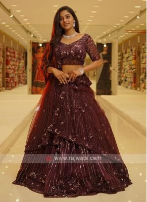 Wine Color Net Choli Suit