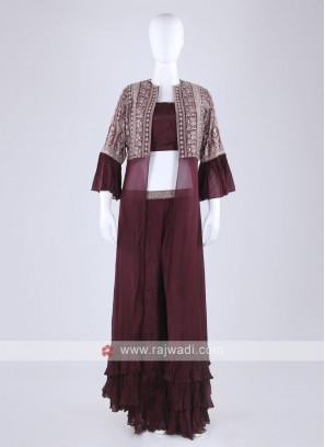 Wine Color Palazzo Suit