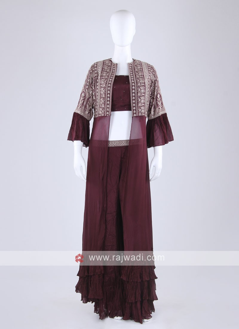 Wine Color Palazzo Suit