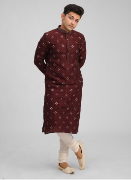 Wine Color Raw Silk Kurta And Off-White Color Pajama