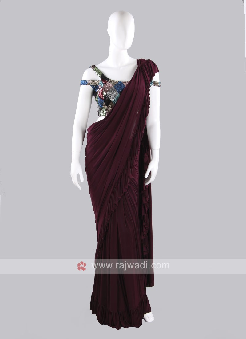 Wine color ruffle saree