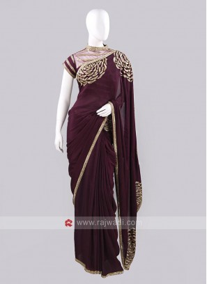 Wine Color Saree for Party