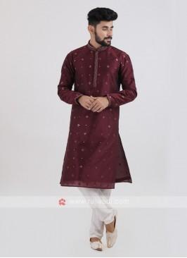 Wine Color Silk Kurta Pajama