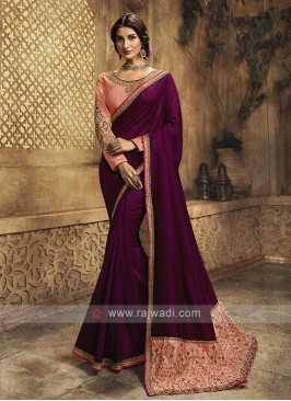 Wine Color Silk Saree