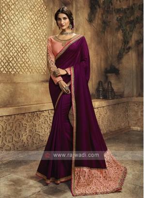 Wine Color Silk Saree