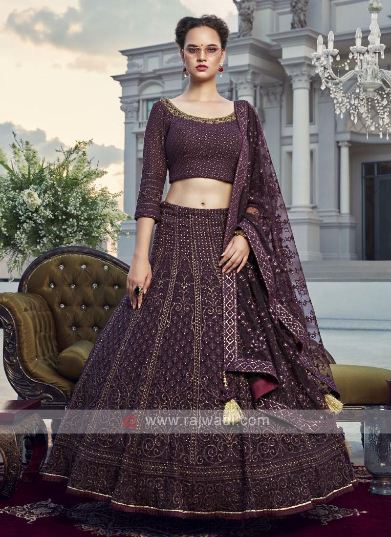 Wine color stylish choli suit
