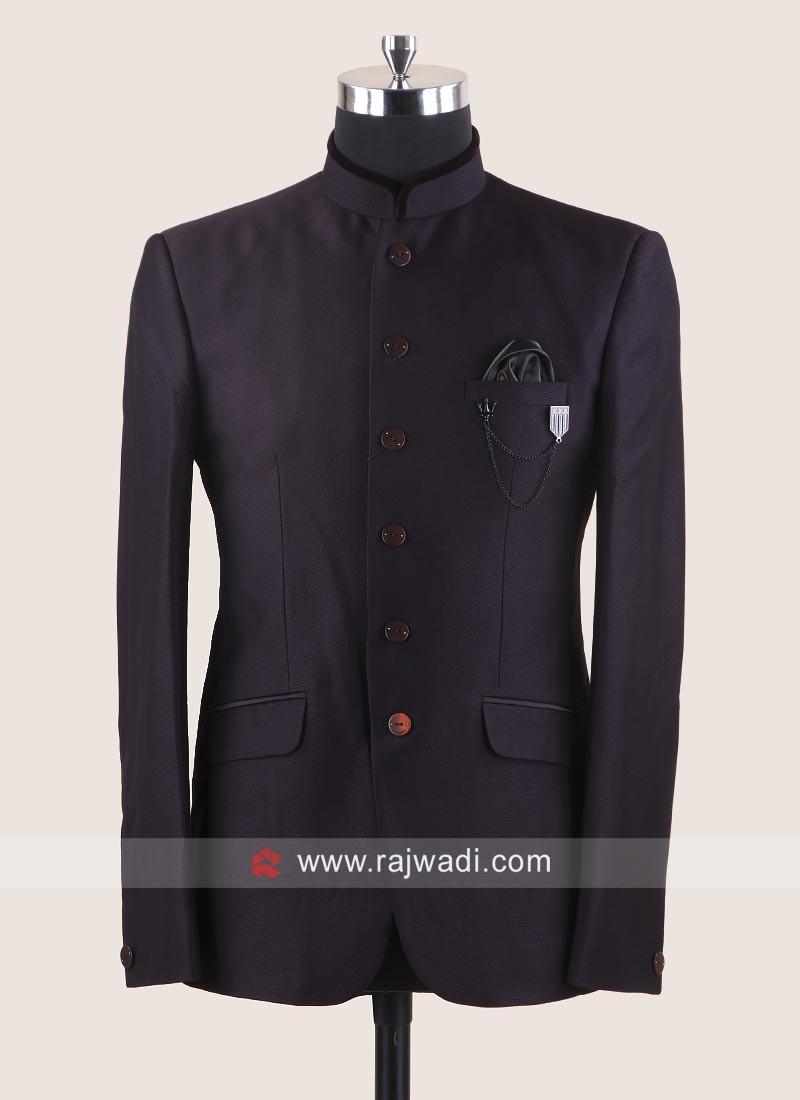 Wine Imported Fabric Jodhpuri Suit