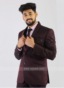 Wine Imported Party Wear Suit