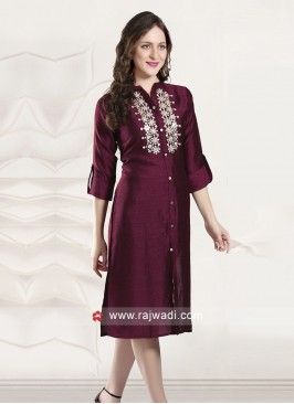 Wine Plastic Mirror Work Kurti