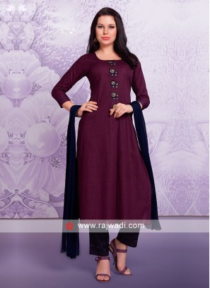Wine Trouser Suit For Party