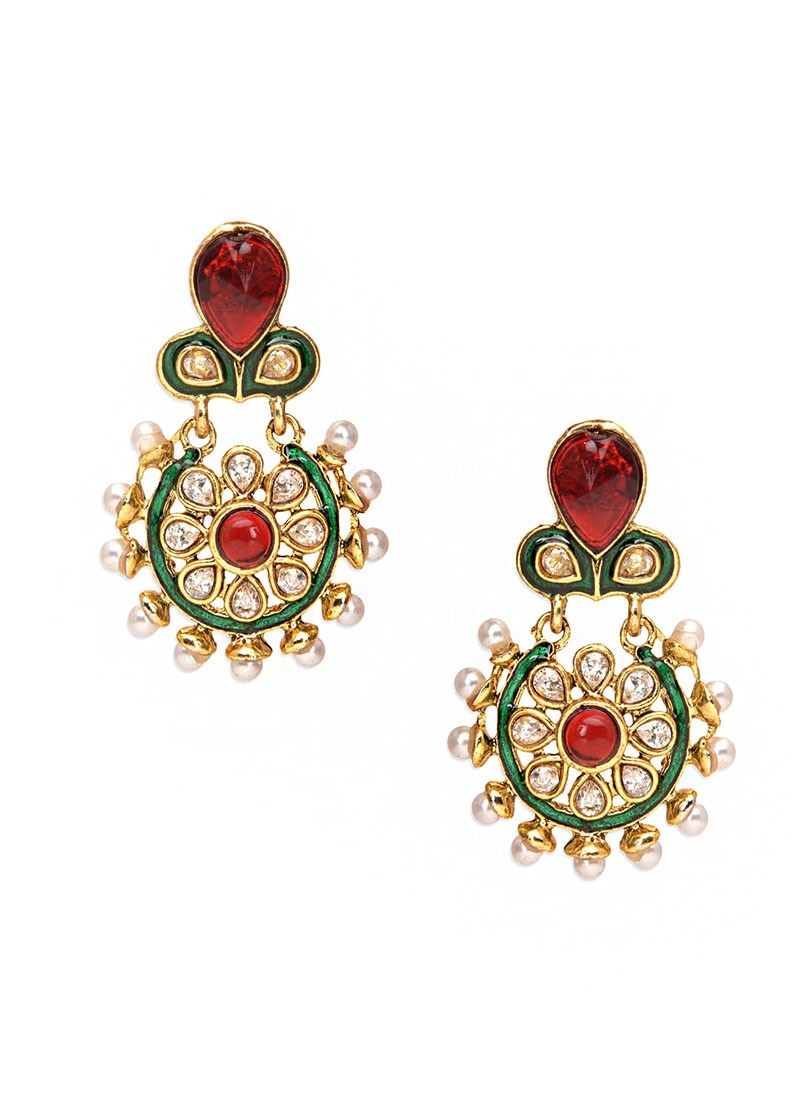 Winsome Leafy Red Earrings