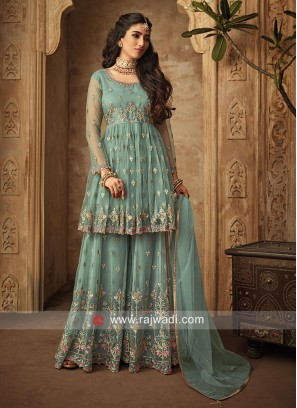 Winsome Net Gharara Suit in Light Teal