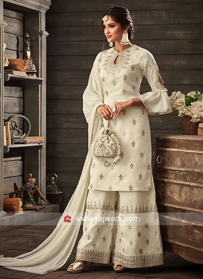 Winsome White Embroidered Gharara Suit