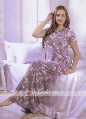 Women beige color printed nighty