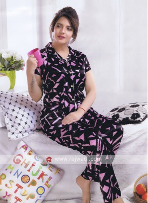 Women black and pink color night suit