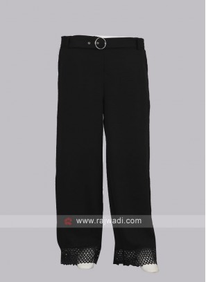 Women Black color Solid Straight Palazzos