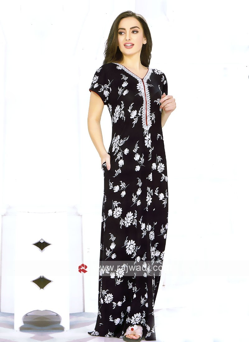 Women black printed maxi nightdress