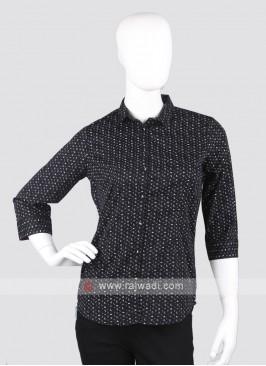 Women black printed shirt