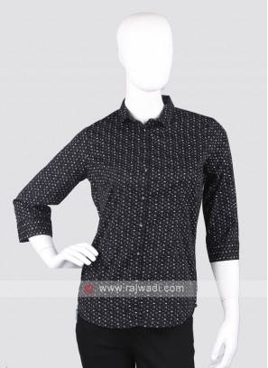 Women black printed shirt