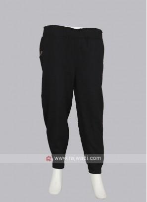 Women black pyjama With Cuffed Hem