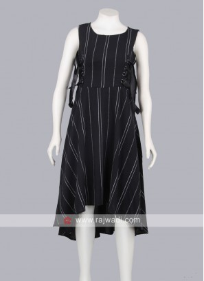 Women Black stripe printed Midi