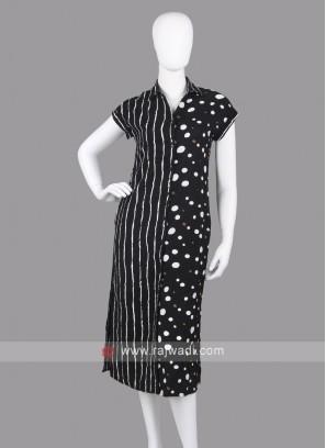 Women Black & White A-Line Dress