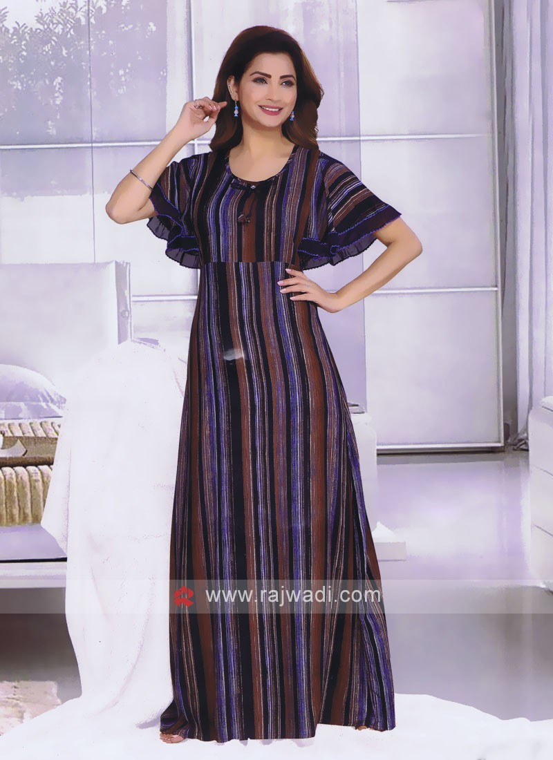 Women blue and multi color nighty