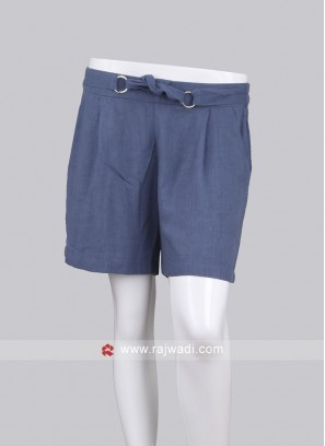 Women Blue-Coloured Solid Regular Fit Shorts