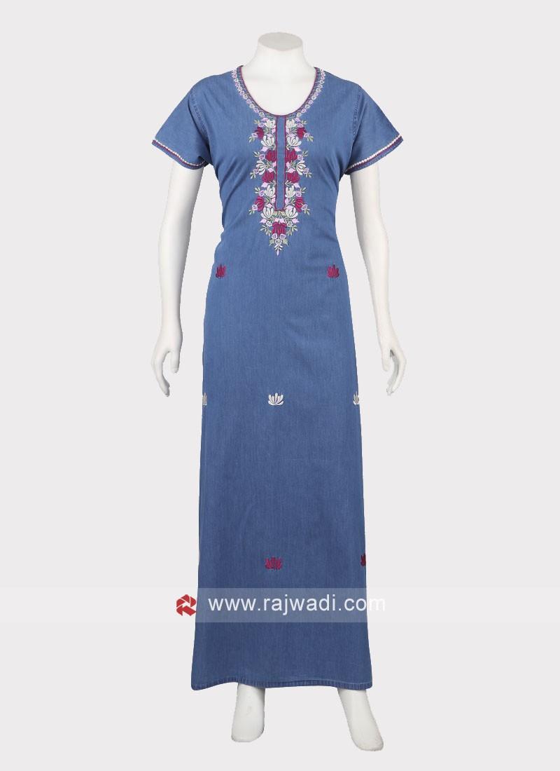Women Carolina  Blue denim cotton nighty